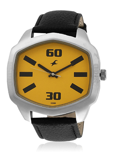 fastrack analog yellow dial men's watch-3119SL02