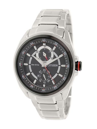 Citizen Eco-Drive Multi-Function Black & Red Combination Dial BU3004-54E Watch For Men-BU3004-54E