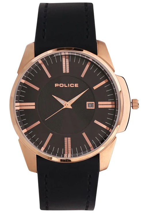 Police Black Dial Black Leather Strap Men's Watch PL14384JSR02-PL14384JSR02
