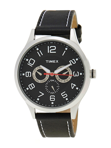 Timex Fashion Analog Black Dial Men's Leather Watch-TW000T305