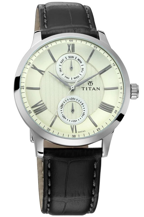 Titan Classique On Trend Silver Dial Leather Strap Men's Watch 90100SL01-90100SL01