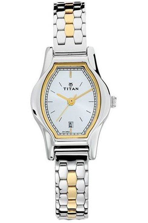 titan silver dial two toned stainless steel strap women's watch 2597bm01-2597BM01