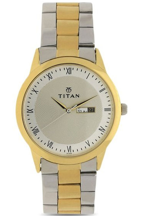 titan champagne dial two toned stainless steel strap men's watch nk1584bm02-NK1584BM02