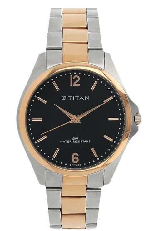 titan black dial two tone metal strap watch for men nj9439km01a-NJ9439KM01A