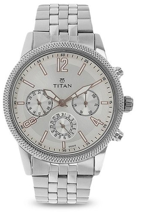 titan neo silver dial stainless steel strap watch for men nk1734sm01-NK1734SM01