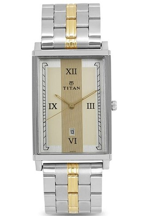 titan champagne dial two toned stainless steel strap men's watch 1776bm01-1776BM01