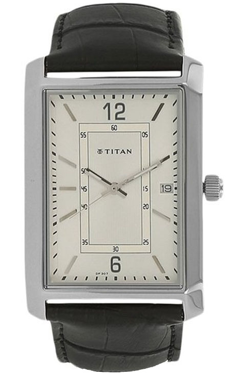 titan white dial black leather strap watch for men nk1697sl01-NK1697SL01