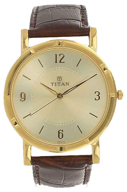 titan beige dial brown leather strap watch for men nk1639yl03-NK1639YL03