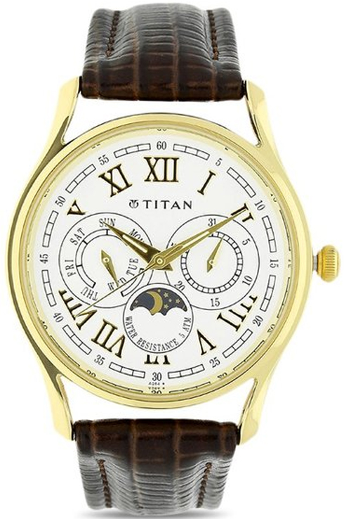 Titan White Dial Brown Leather Strap Men's Watch NK1487YL01-NK1487YL01
