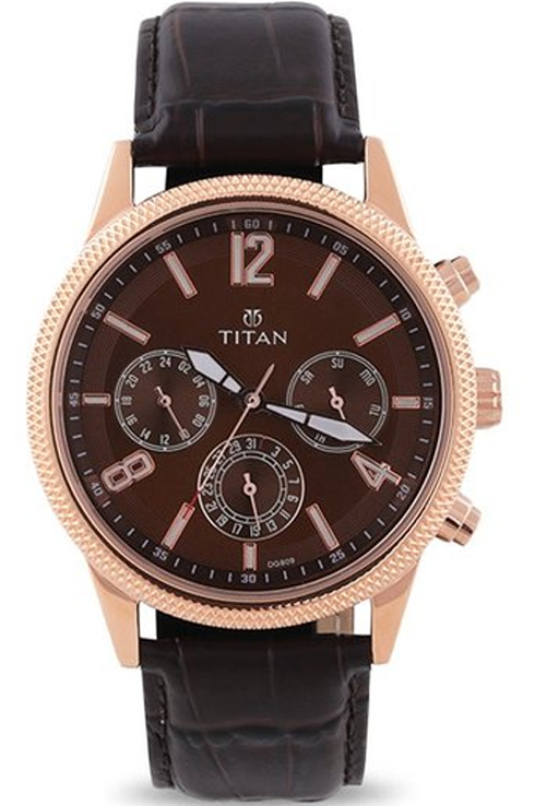 titan neo brown dial brown leather strap watch for men 1734wl01-1734WL01