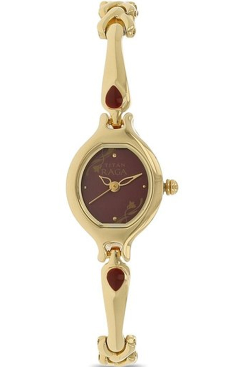 titan raga red dial gold metal strap watch for women nk2387ym07-NK2387YM07