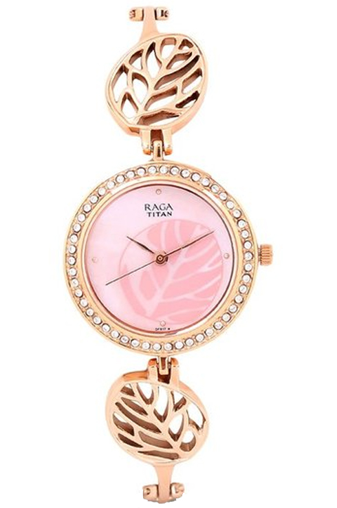 titan raga foliage mother of pearl dial metal strap women's watch nk2539wm02-NK2539WM02
