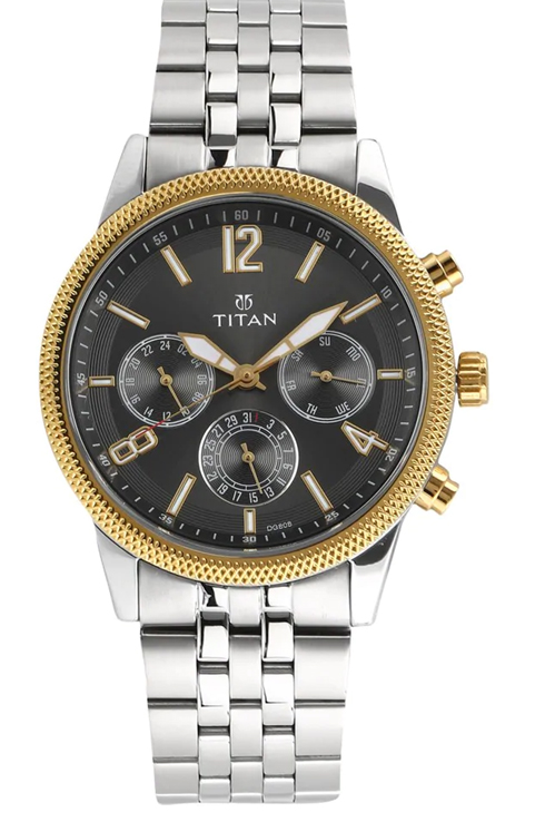 titan neo multi-function anthracite dial stainless steel strap watch for men 1734bm01-1734BM01