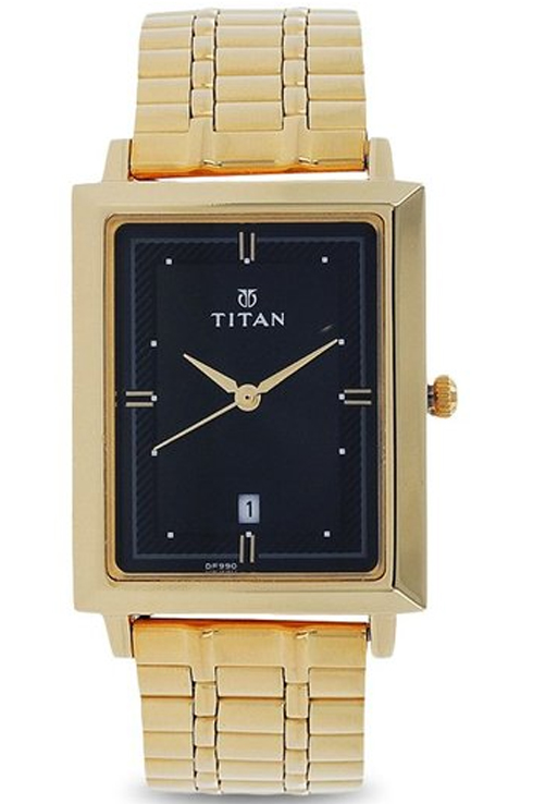 titan black dial golden stainless steel strap watch for men nk1715ym03-NK1715YM03