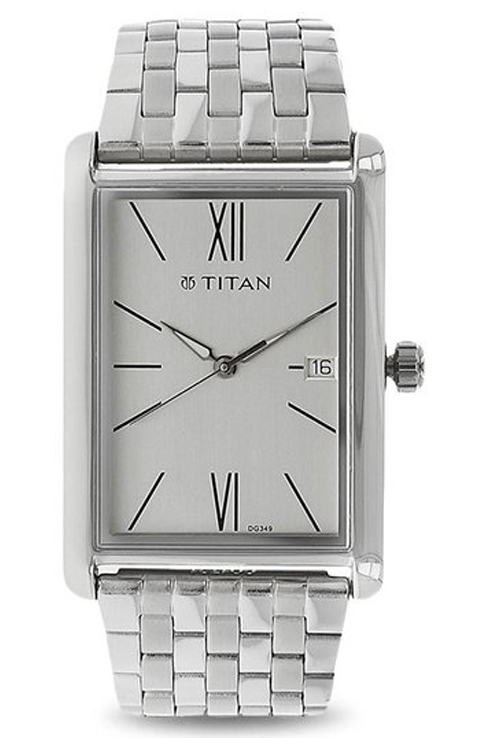 titan work wear silver dial stainless steel strap men's watch nk1731sm01-NK1731SM01