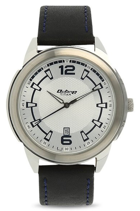 titan octane white dial black leather strap men's watch nk1585sl09b-NK1585SL09B