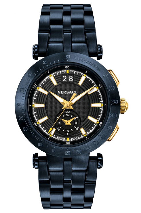 Versace Round Analog Black Dial Men's Watch-VAH050016