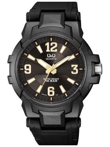 q&q analog regular black dial men's watch vr62j008-VR62J008Y