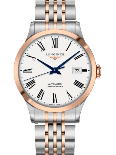 longines record collection date automatic stainless steel watch for men's-L2.821.5.11.7