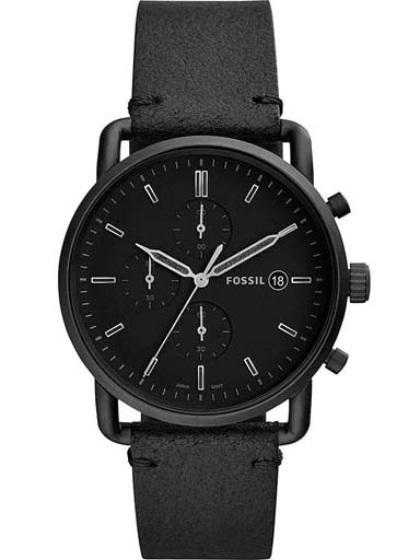 fossil the commuter chronograph black leather watch fs5504i-FS5504I