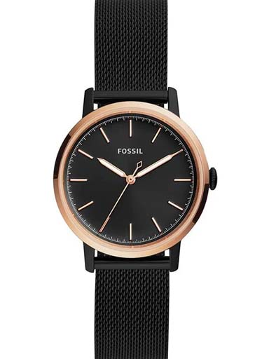 fossil neely three-hand black stainless steel watch-ES4467I