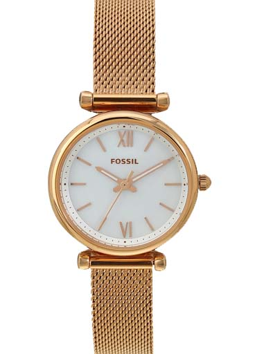 fossil carlie mini three-hand rose gold-tone stainless steel women watch-ES4433I