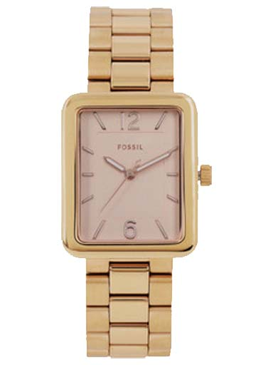 fossil atwater three-hand rose gold-tone stainless steel watch-ES4156I