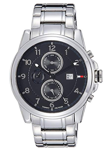Tommy Hilfiger Black Dial Silver Stainless Steel Strap NATH1710296 Watch For Men-NATH1710296
