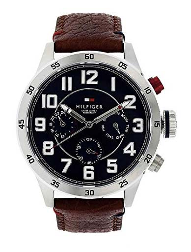 Tommy Hilfiger Blue Dial Brown Leather Strap NATH1791066J Men's Watch-NATH1791066J