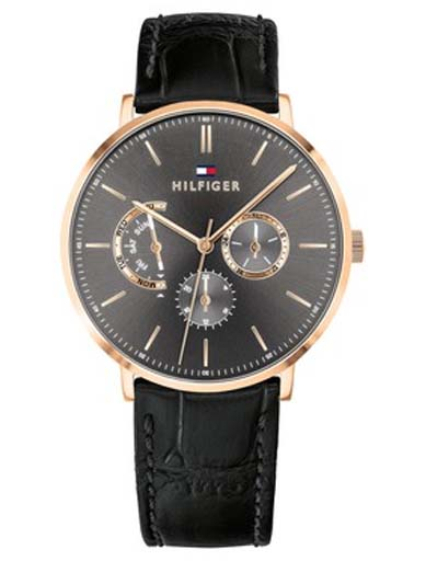 Tommy Hilfiger Grey Dial Black Leather Strap TH1710377 Men's Watch-TH1710377