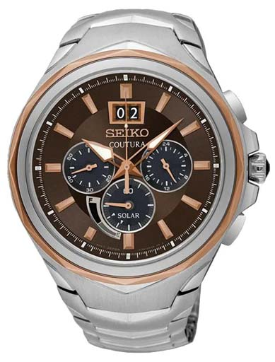 Seiko Coutura Solar Brown Dial SSC628P9 Men's Watch-SSC628P9