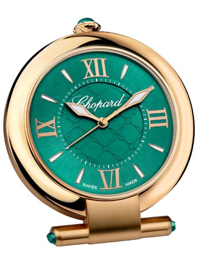 Chopard Imperiale Green Dial Alarm Stainless Steel Table Clock-95020-0100
