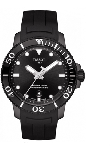 Tissot Seastar 1000 Powermatic 80 Black Dial Men's Watch-T1204073705100