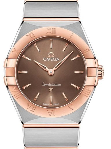 Omega Constellation Manhattan Steel - Sedna Gold Brown Dial Watch For Women's-O13120286013001
