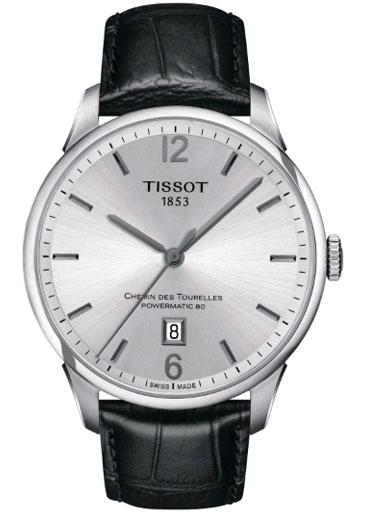 tissot chemin des tourelles powermatic 80 black leather men's watch-T0994071603700