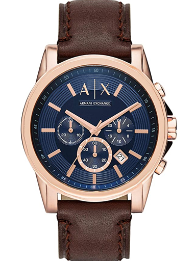 Armani Exchange Outerbanks Chronograph Blue Dial Brown Leather Men's Watch-AX2508I