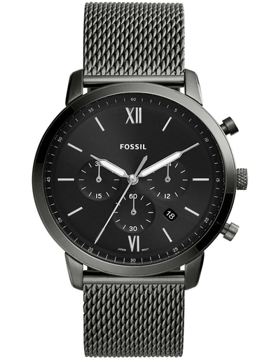 fossil  neutra chronograph smoke stainless steel mesh watch-FS5699I