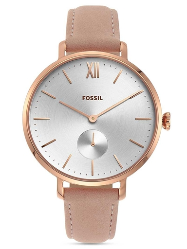 fossil kayla three-hand nude leather watch-ES4572I
