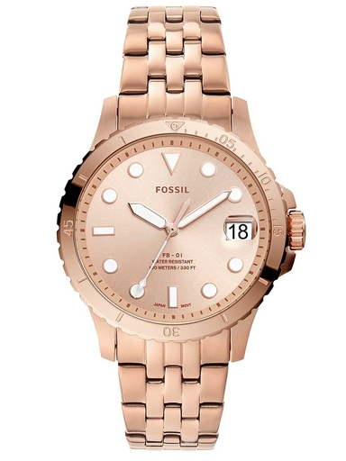 fossil fb-01three-hand date rose gold-tone stainless steel watch-ES4748I