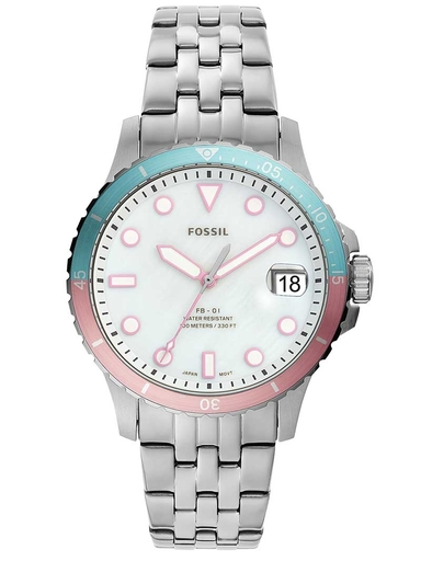 Fossil Three-Hand Date Multi Color Dial Stainless Steel Watch-ES4741I