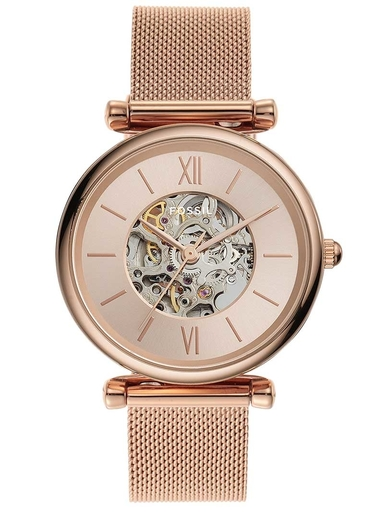 fossil carlie automatic rose gold-tone stainless steel mesh watch-ME3175