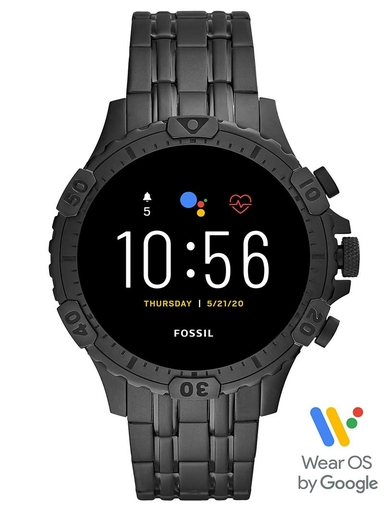 Fossil Gen 5 Smartwatch Garrett HR Black Stainless Steel-FTW4038