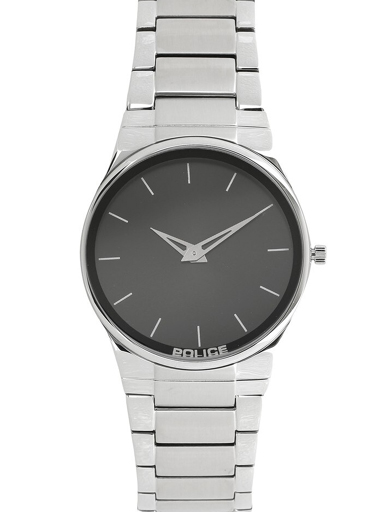 Police Black Dial Silver Stainless Steel Strap Men's Watch-NBPL12744JRS02M