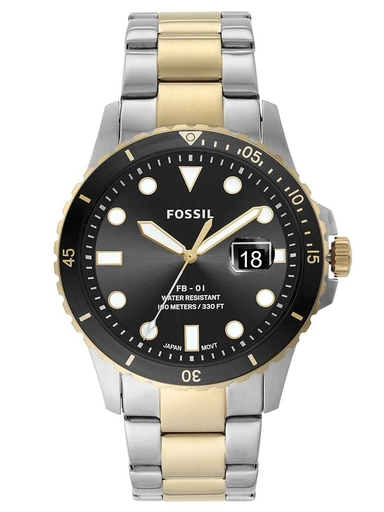 fossil fb-01 three-hand date two-tone stainless steel watch-FS5653I