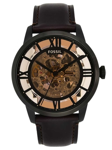 fossil townsman automatic dark brown leather watch-ME3098I