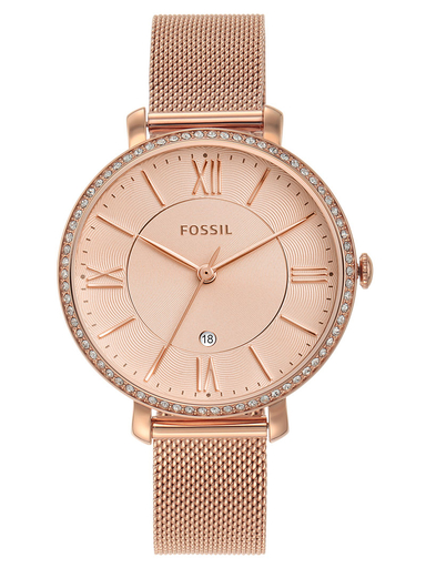 fossil jacqueline three-hand date rose gold-tone stainless steel watch-ES4628