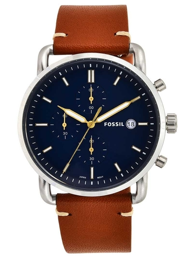 Fossil The Commuter Chronograph Light Brown Leather Watch-FS5401