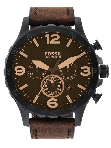 Fossil Nate Chronograph Brown Leather Watch-JR1487