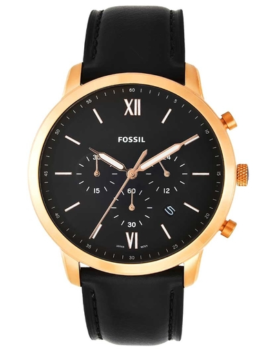 fossil neutra chronograph black leather analog watch-FS5381