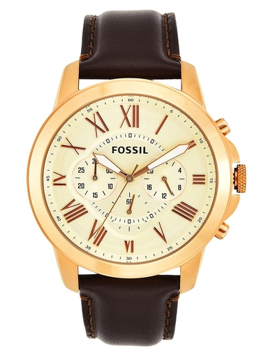 Fossil Grant Chronograph Brown Leather Analog Watch-FS4991